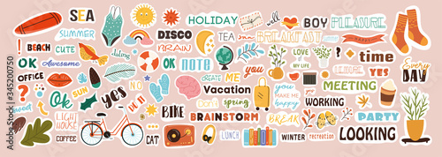 Foto Very large collection of colorful stickers covering diverse subjects with text a