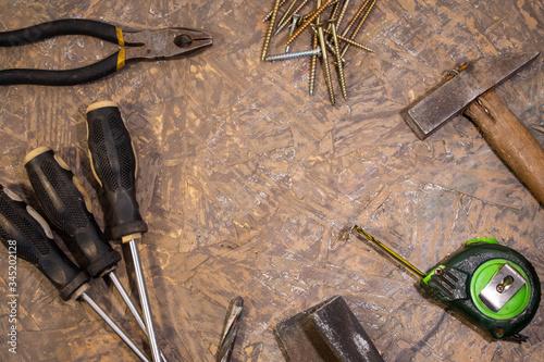Photo tabla de herramientas vista de arriba sobre  madera