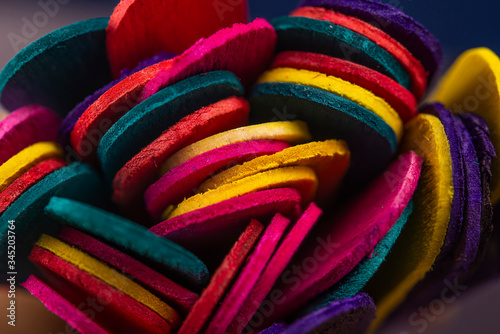 Foto Closeup view of Colourful Ice cream sticks making background