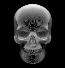 3d Render Of Abstract Art Of Surreal Scary Spooky Halloween 3d Scull In The Dark, Symbol Or Sign Of Depth, Based On Curve Wavy Lines Or Cords In White Plastic Material On Black Background