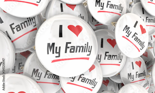 I Love My Family Buttons Pins Showing Pride in Relatives Ancestry 3d Illustratio Canvas Print