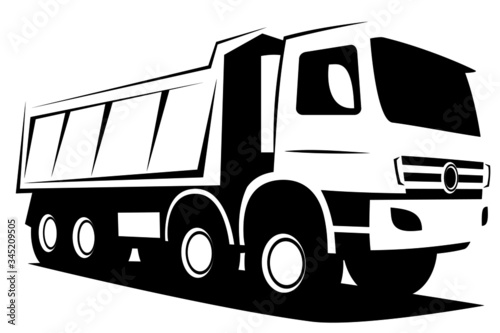 Dynamic vector illustration of a european tipper truck with four axles used in i Canvas Print