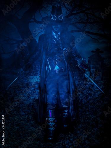 Fotografía beautiful boy gothic demon vampire hunter with stake