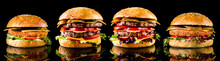 Burgers On A Black Background