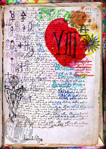 Mysterious papers, drawings and alchemical and astrological documents, with stamps and antique prints © Rosario Rizzo