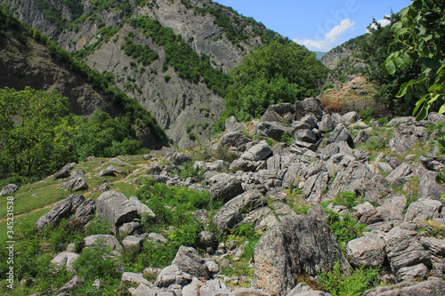 The accumulation of stone blocks in the mountains. Canvas Print