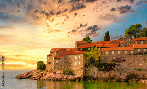 Aman Sveti Stefan island in Budva in a beautiful summer day, Montenegro Canvas Print