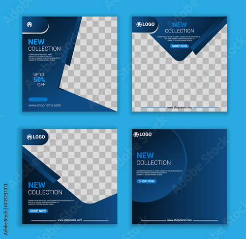New collection social media banner template set Fotobehang