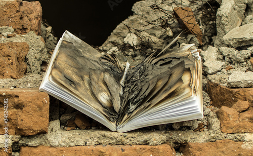 Fototapety, obrazy: Book with burned pages, on a brick wall
