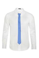 Biała męska koszula oraz niebieski krawat na białym wyizolowanym tle, zdjęcie  duch produktowe.