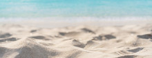 Tropical Beautiful Sand Beach And Clear Water With Copy Space, Summer Vacation Web Banner