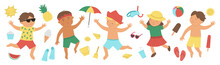 Vector Summer Set With Children In Swimming Suits With Beach Objects. Cute Happy Kids Collection. Fun Sea Holidays Illustration. Summer Design Elements Isolated On White Background..