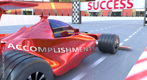 Photo Accomplishments and success - pictured as word Accomplishments and a f1 car, to