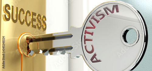Activism and success - pictured as word Activism on a key, to symbolize that Act Canvas Print