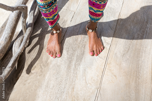 Photo Close Up of Ethnic Woman's Bare Feet and Anklet