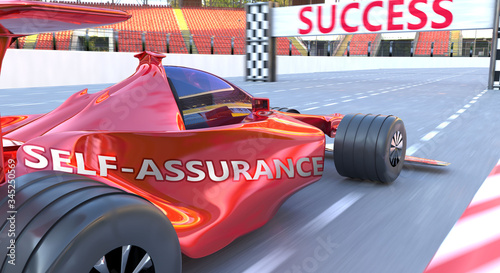 Photo Self assurance and success - pictured as word Self assurance and a f1 car, to sy