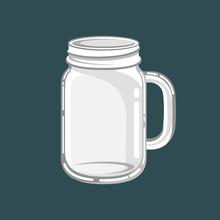 Glass Mason Jar Mug Vector Ill...