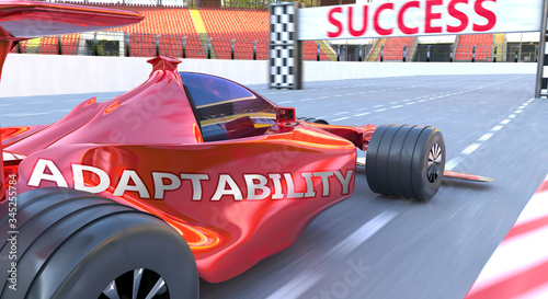 Valokuva Adaptability and success - pictured as word Adaptability and a f1 car, to symbol