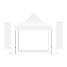 Blank Square Canopy Tent With Two Rectangular Promo Flags Isolated On White Background. Vector Illustration