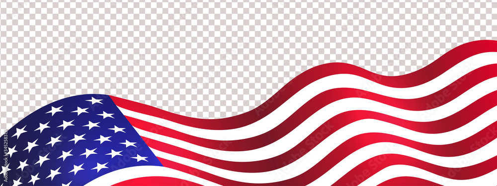 Fototapeta 4th of July USA Independence Day. Waving american flag isolated on transparent background. Design element for sale, discount, advertisement, web. Place for your text