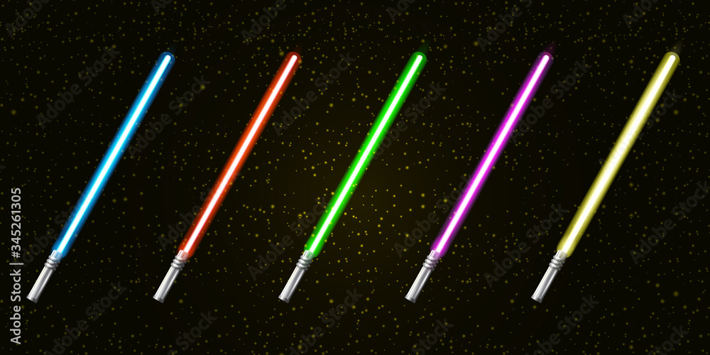 Fototapeta Blue, red, green, pink and yellow laser sword lightsaber set isolated on starry black galaxy background. May the 4th be with vector illustration with neon glowing lighting sword. Star wars day poster
