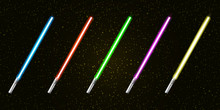 Blue, Red, Green, Pink And Yellow Laser Sword Lightsaber Set Isolated On Starry Black Galaxy Background. May The 4th Be With Vector Illustration With Neon Glowing Lighting Sword. Star Wars Day Poster