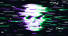 Illustration Of A Skull In A Distorted Glitch Style. Design Element For Advertising, Branding, Shares, Promotion, Print Assets. Vector Illustration.