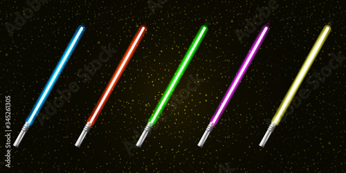 Blue, red, green, pink and yellow laser sword lightsaber set isolated on starry black galaxy background Canvas Print