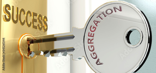 Aggregation and success - pictured as word Aggregation on a key, to symbolize th Canvas Print