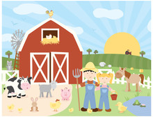 A Vector Illustration Of A Complete Scene Of Cute Farm Animals, Farmers And A Barn On A Farm In The Country With A Rising Sun In A Field With A Tractor