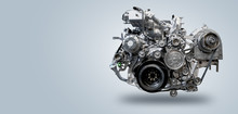 Diesel Engine On Gray Background
