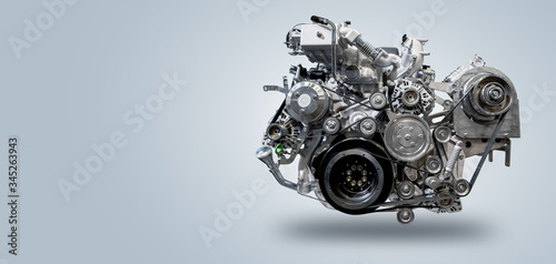 Canvastavla Diesel engine on gray background