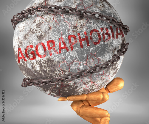 Photo Agoraphobia and hardship in life - pictured by word Agoraphobia as a heavy weigh