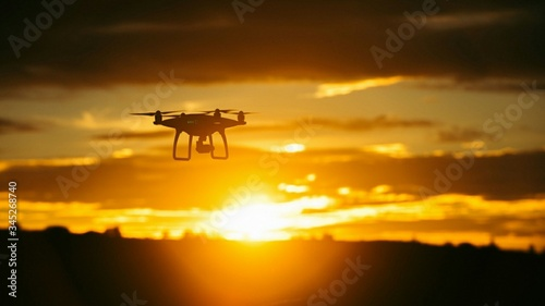 Photo Drone flying in sky for ariel shots.