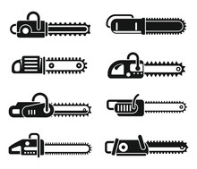 Chainsaw Blade Icons Set. Simp...