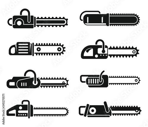 Photo Chainsaw blade icons set