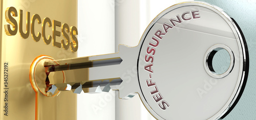 Self assurance and success - pictured as word Self assurance on a key, to symbol Wallpaper Mural