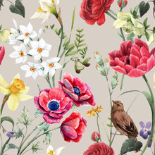 Beautiful Vector Floral Summer Seamless Pattern With Watercolor Red And Yellow Flowers. Stock Illustration.