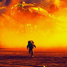Astronaut Running Away From Gi...