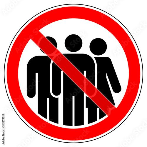 srr574 SignRoundRed - german: Keine Begleitung - ohne Begleitperson - Versammlung verboten - english: no accompaniment Canvas Print