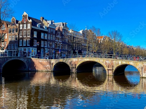Fototapety, obrazy: Amsterdam, The Netherlands, historical city center and canals.