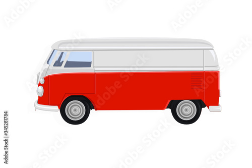 Fototapeta Vector red retro bus or van isolated on a transparent background