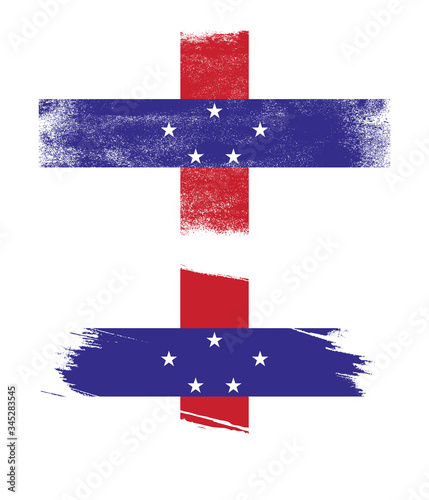 Photo netherlands antilles flag with grunge texture