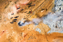 People Near Geyser In The Iceland. Aerial Landscape Above Geyser. Icelandic Landscape From Air. Famous Place. Travel - Image