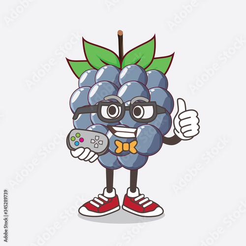 Dewberries Fruit cartoon mascot character as attractive gamer Fototapeta