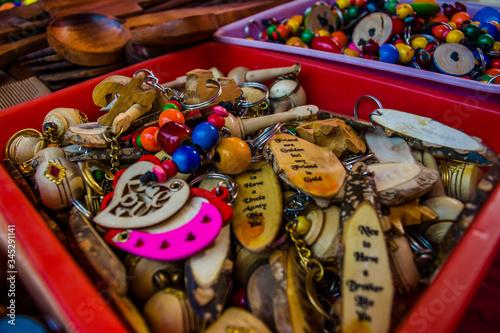 Colorful Mattel items from Surajkund handicraft fair Wallpaper Mural