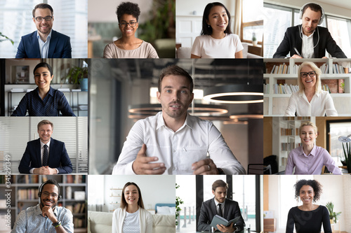 Screen application view of diverse businesspeople talk brainstorm on video call Fototapeta