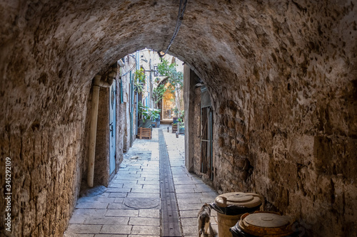 Narrow street in the old city of Acre. Acre or Akko. Israel Wallpaper Mural