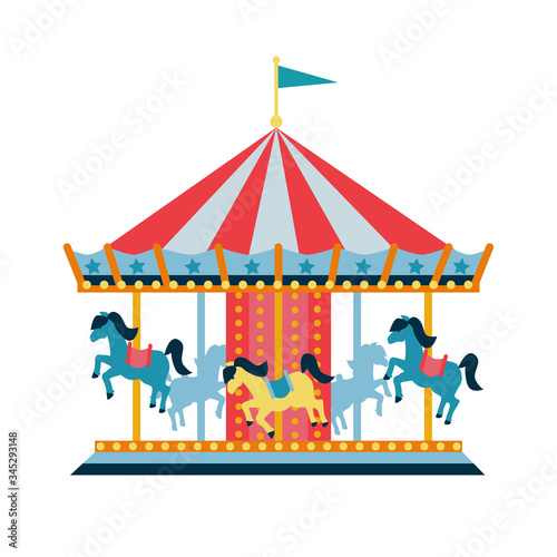 Valokuva Carousel with horses or merry-go-round for children, amusement park, circus
