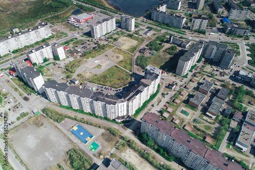 Fototapeta Aerial Townscape of Monchegorsk Town located in Kola Peninsula in Nothern Russia obraz na płótnie